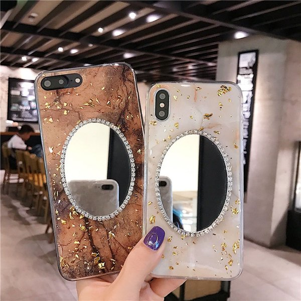 TPU cell phone case with mirror Glitter powder cover Luxury Crystal Glitter Diamond Mirror Cases For iPhone 7 8PLUS XR X MAX