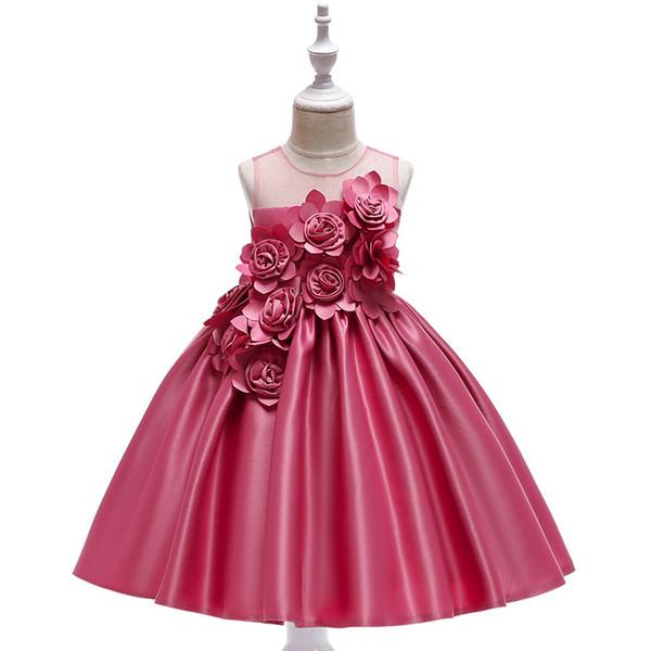 Elegante Rose Fower Mädchen Kleid Kinder Prinzessin Geburtstag Applique Prom Designs Ballkleid Mode Kinder Kleider Für Mädchen Kleidung