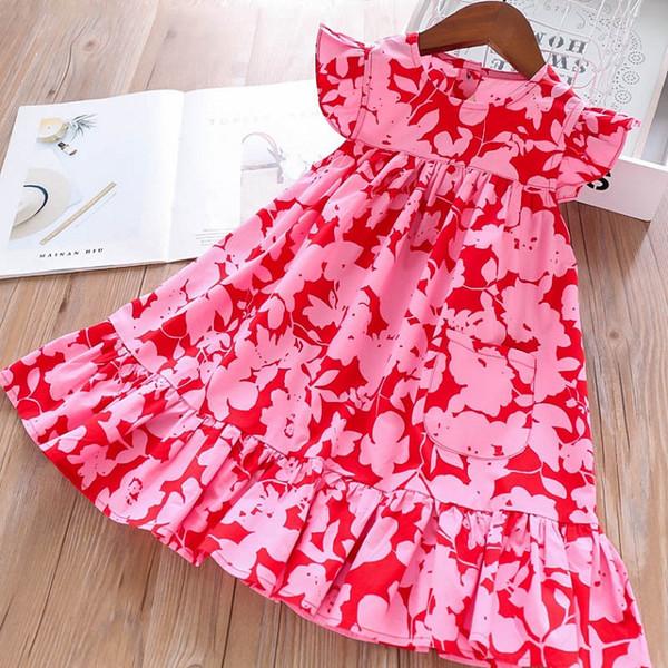 Niñas Color brillante Mangas con volantes Vestidos Verano 2019 Ropa de Boutique para niños 2-7Y Niñas pequeñas Vestidos de algodón de alta calidad