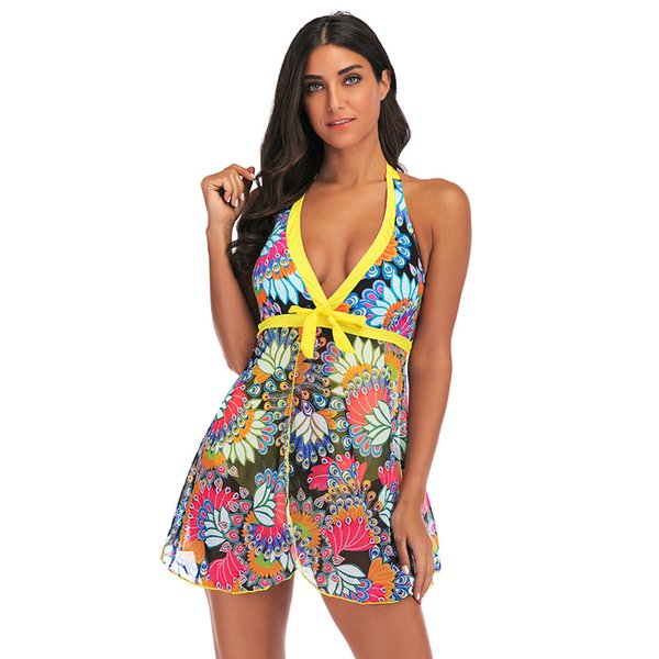 MUQGEW Tankini Conjuntos con pantalones cortos para niños traje de baño para mujer Bikini para mujer Conjunto de trajes de baño Push-Up Padded Sujetador 2019 nuevo