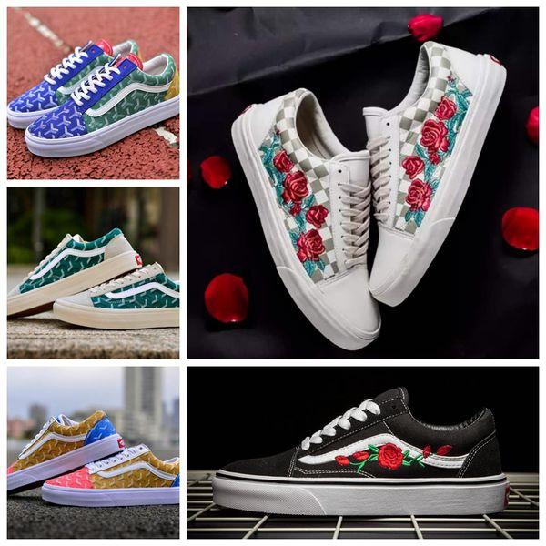 2019 VANS X AMAC Customs Women Men Skateboard Shoes Brand Rose Embroidery  Sport Old Skool Skate Womens Canvas zapatillas de deporte Sneakers 2e2f81e78