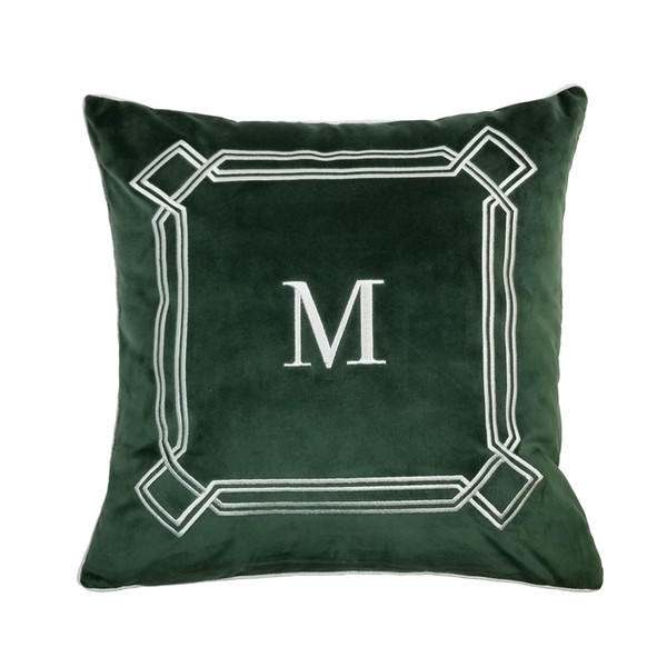 """Deluxe M Embroidery Green Orange Designer Pillow Case Sofa Cushion Cover Velvet Home Bedding Decorative Pillowcase 18x18"""" Sell by Piece"""