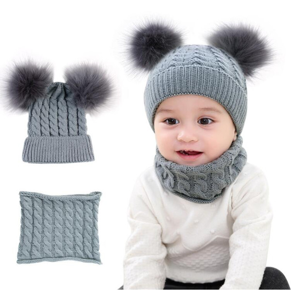 Baby Hat Scarf Infant Children Hat Scarf Candy Ball 2 Pc Set UK SELLER
