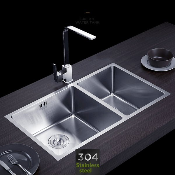 best selling Handmade kitchen sink Stainless steel brushed double bowl Wire drawing process seamless welding sinks 760x430mm free shipping