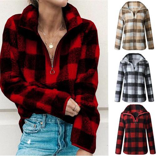 Women Zipper Plaid Hoodie Sherpa Fleece Sweatshirt Fashion Turtleneck grid Blouse Autumn Winter Long Sleeve Pullover Tops Plush Sweater