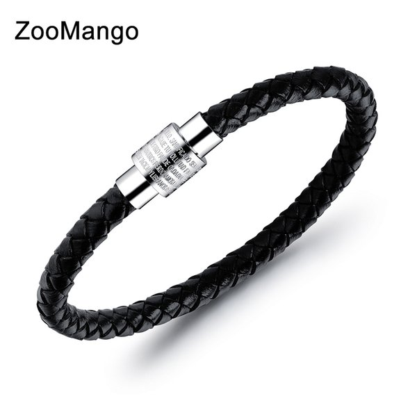 ZooMango Vintage Bible Verse Leather Bracelets Jewelry Stainless Steel Magnetic Clasp Bracelet Bangles For Men Pulseras OPH1237