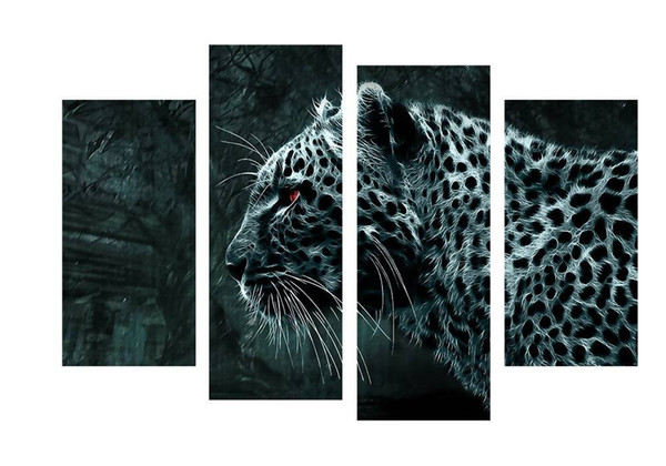 4pcs/set Unframed The Red Eyes Leopard Forest Print On Canvas Wall Art Picture For Home and Living Room Decor
