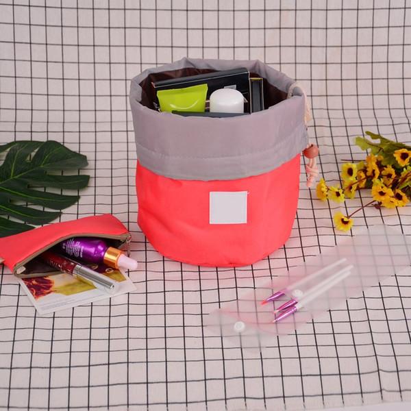 SHUJIN Große kosmetische Kordelzugbeutel Nylon Korean Version Travel Wash Professionelles Zylinderpaket Elegante Große Kapazität