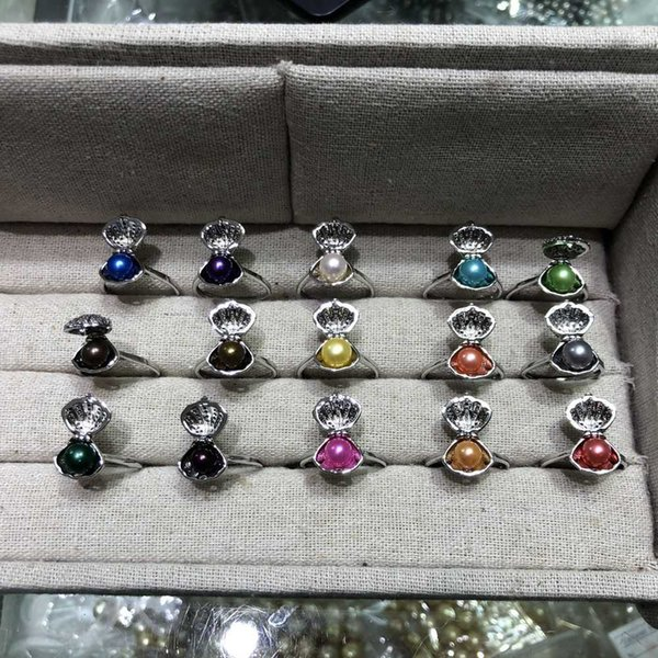 Special design shell-shape can open and close pearls rings ,silver plated ring,with 6mm pearls on ,5 mixed colors pieces a lot,