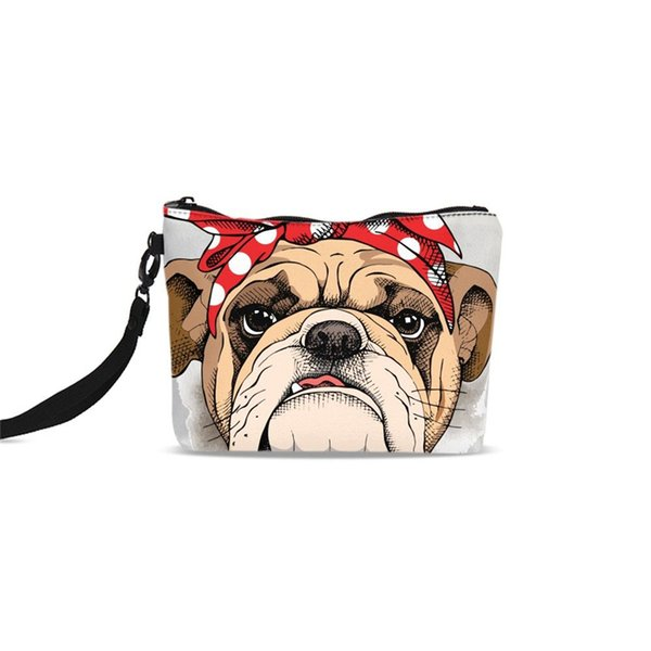 Cute French Bulldog Canvas Cosmetic Bags Women Neceser Zipper Make Up Case Storage Pouch Wash Toiletry Organizer Clutch