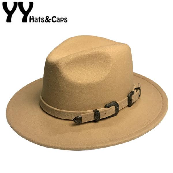 Hiver Panama Chapeau Femmes Élégant En Feutre Casquettes Mâle Vintage Chapeau Trilby Large Bord Large Fedora CAPS avec Ceinture Chapeau Homme Feutre YY18016 D19011102