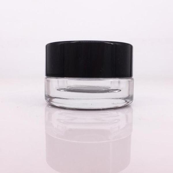 Non-Stick 5ml Pot en verre en verre trempé cire Container pot sec aux herbes Récipient avec couvercle en verre noir Pot MMA2799