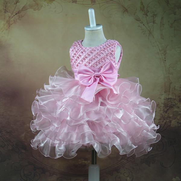 Beautiful Draped Ruffle Flower Girl Dresses Tie Bow Princess Ball Grown Beading Sleeveless Little Girls Dresses