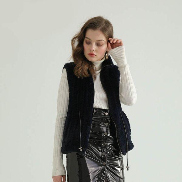FF915 Pudi New fall winter Faux rabbit fur girl Waist belt short vest lady fashion knitted fur wrap shawl