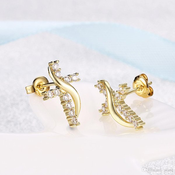 Fashion Trends Individuals Crosses Girls Stud Earrings Gold Crystal Stud Earrings Luxury Jewelry Gifts Wholesale Free Shipping