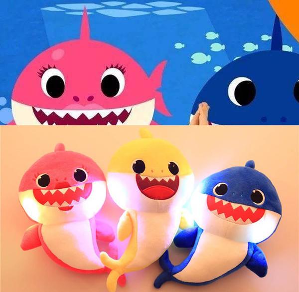32 cm (12.5 inç) LED Müzik Bebek Köpekbalığı Peluş Oyuncaklar Karikatür Dolması Güzel Hayvan Yumuşak Bebekler Müzik Köpekbalığı Peluş Bebek Parti Favor 3 Renkler C21