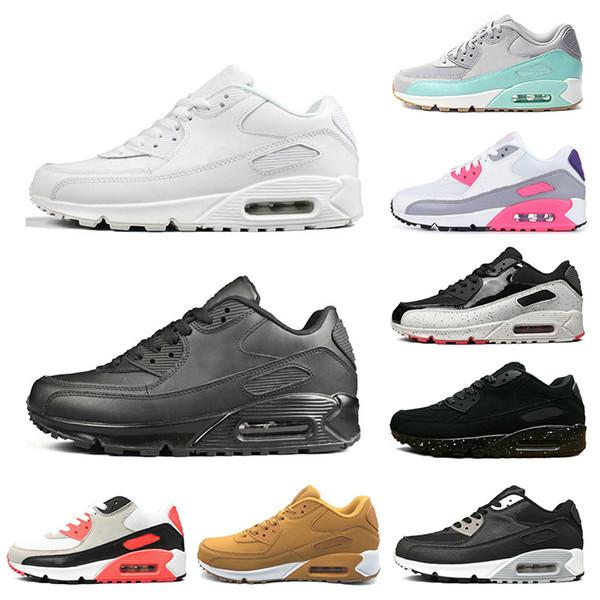 Großhandel Nike Air Max 90 Laufschuhe Für Herren Infrarot International Flag Pack Dreifach Weiß Schwarz ESSENTIAL Laser Pink Bred Sport Sneaker Für