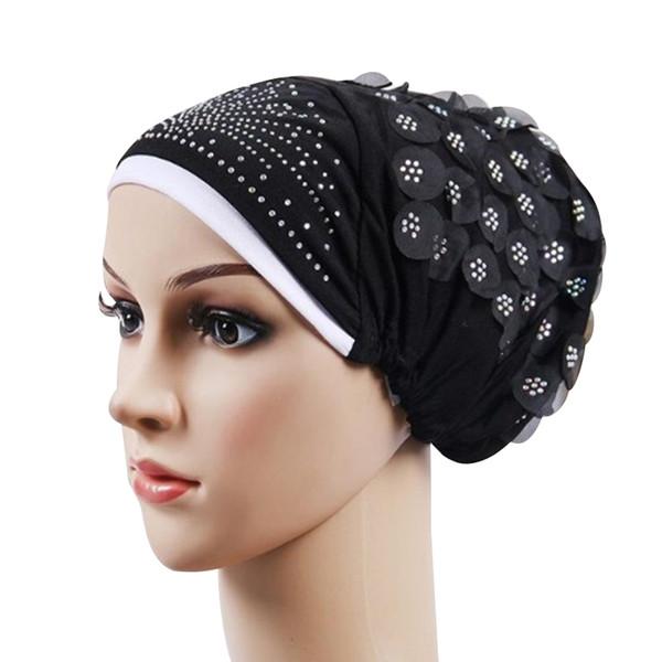 400 PÇS / LOTE Applique Rhinestone Gorro Skullies Cap Mulheres Chapéu Muçulmano Câncer Chemo Gorro Turbante Chapéus
