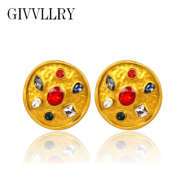GIVVLLRY Baroque Crystal Inset Metal Earrings Fashion Jewelry Elegant Vintage Irregular Gold Big Round Stud Earrings for Women