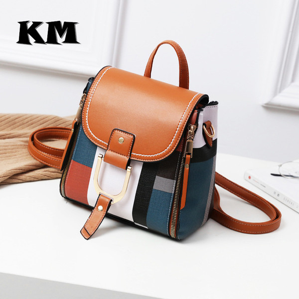 Km Fashion Mini Backpack Women Soft Touch Multi-function Small Backpack Female Leather Shoulder Bag Crossbody Bag Girl PursesMX190824