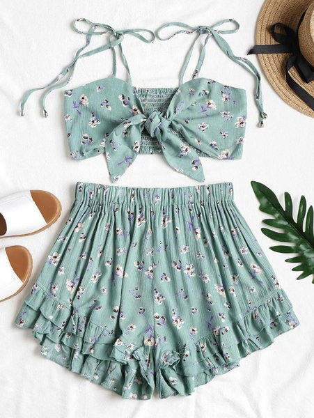 ZAN.STYLE Knotted Shirred Top And Shorts Set 2pcs Women'S Set Floral Prints Elastic Cropped Top High Waist Ruffles Casual Shorts