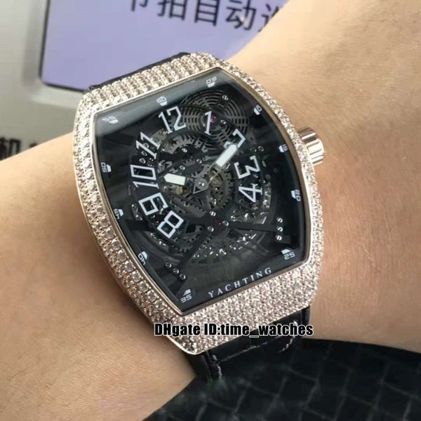 Men's Collection V45 SC DT Yachting Automatic mens watch Diamond bezel Rose gold case Leather strap high quality Gents best sport watches