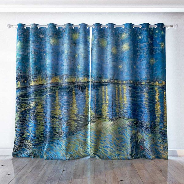 Personality Custom curtain world famous painting Starry Night Over the Rhone drapes Extra wide Blackout curtain party decoration background