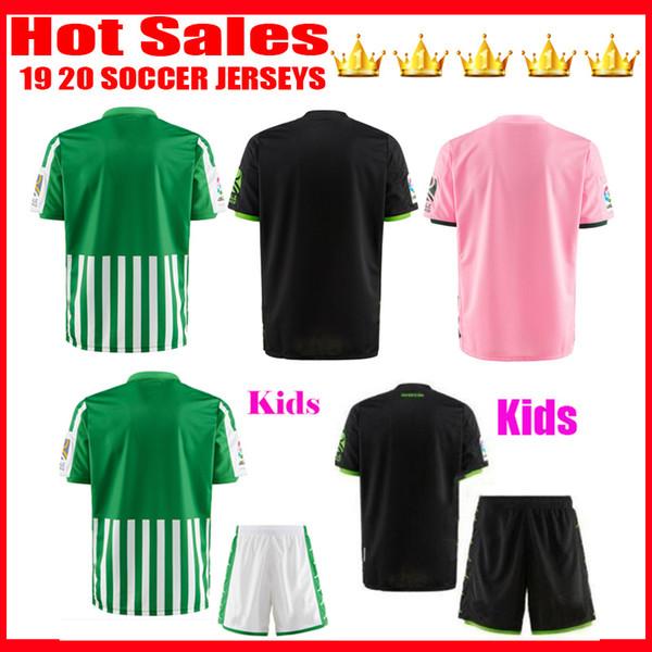 2019 2020 Хоакин трикотажных изделий футбола дом вдали черный третий 19 20 Camisetas B.Iglesias Fekir Педраза Juanmi мужчина + дети комплект футболки