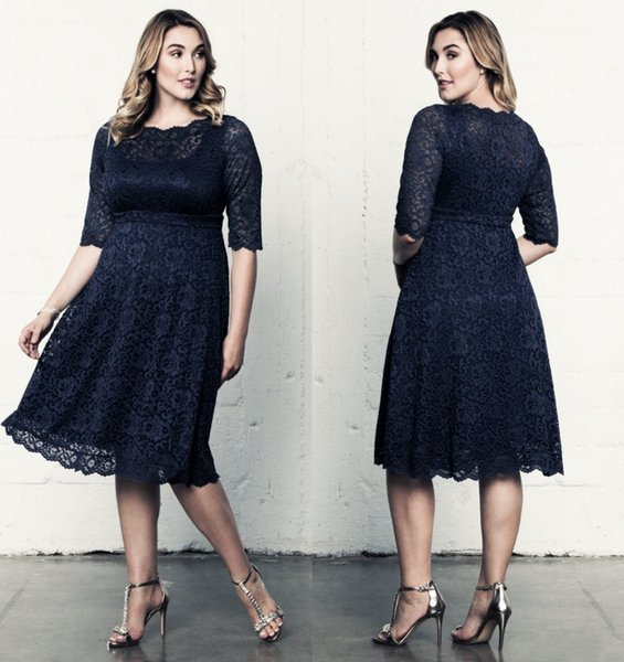 Plus Size Navy Full Lace Formal Dresses With Half Sleeves Sheer Bateau Neck Knee Length Evening Gowns A-Line Short Prom Dresses