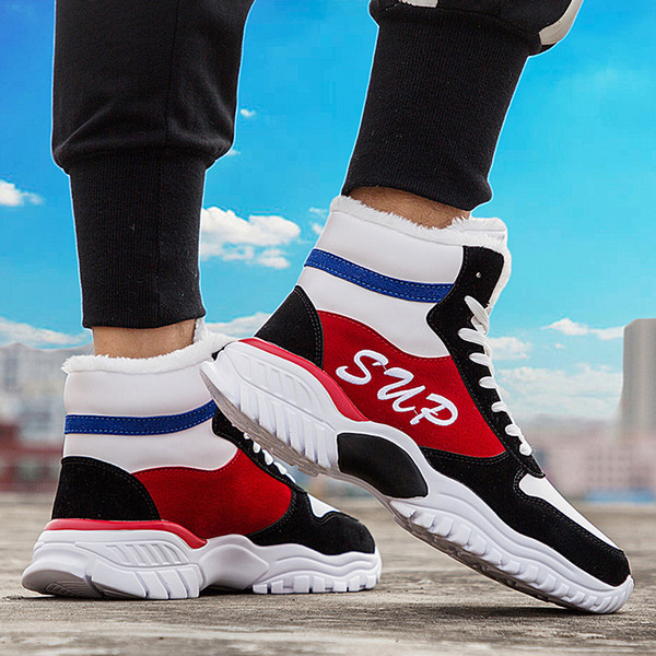 Winter Korean version of the new fashion high-top shoes in 2019, 100 sets of Gaobang men's shoes with velvet to keep warm colour: White and red shoes,White and yellow shoes,White shoes,White cotton shoes,White cotton shoes,White cotton shoes Size: 39,40,41,42,43,44