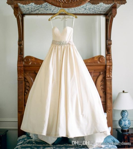 Simple Ball Gown Wedding Dresses With Spaghetti Straps Crystals Sash Satin Bridal Gowns Wedding Dresses Sweep Train