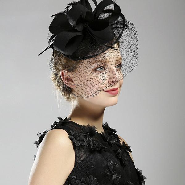 Women Elegant Derby Feather Black Fascinators Church Cap Bridal Hair Clips Women's Party Hat Wedding Veils