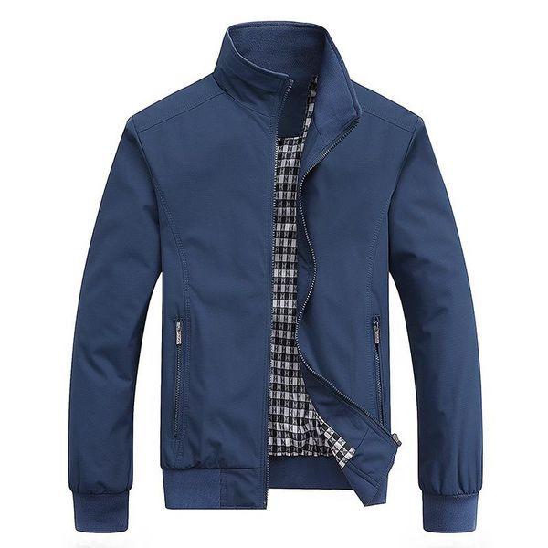 New Men Solid Color Stand Collar Zipper Pocket Slim Bomber Jacket Coat Sportswear