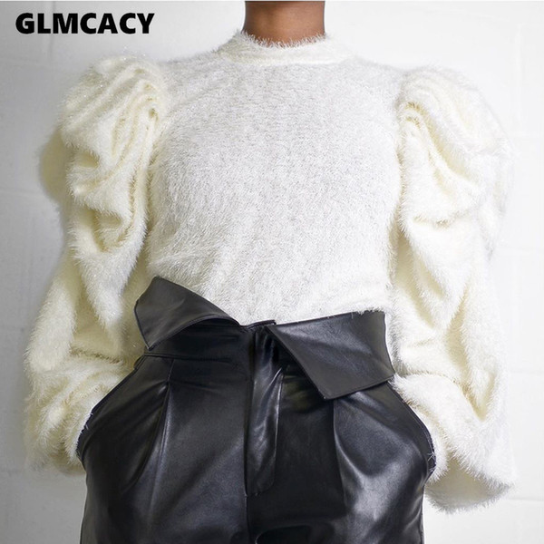 women fluffy puff sleeve sweater autumn o neck patchwork cozy mohair sweater vintage casual pullover