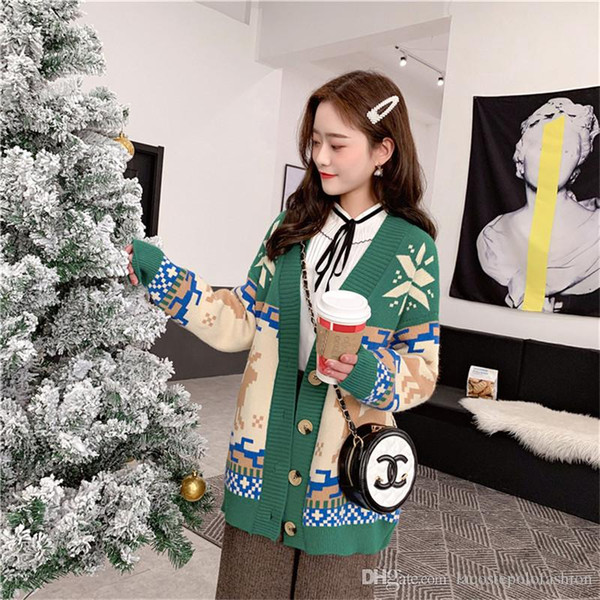 Weihnachten Milu Deer Damen Pullover Fashion Single Button Dick Donna Kleidung Designer Damen Casual Winter Tops