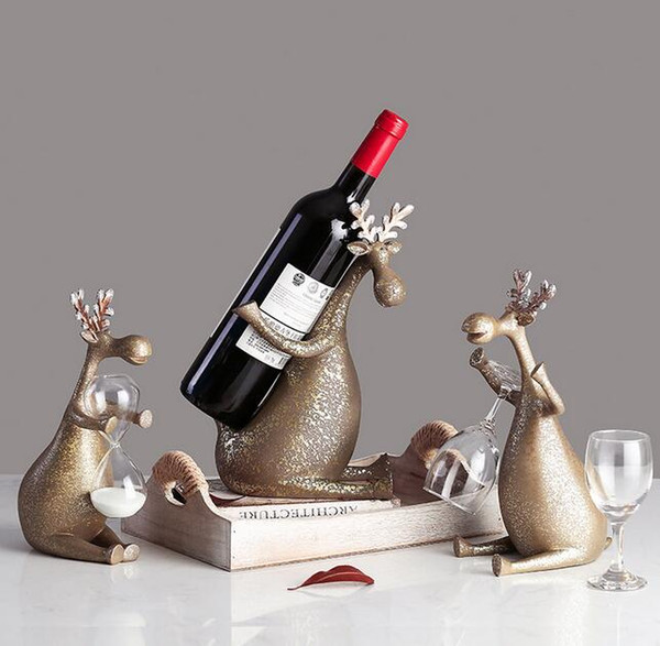 Retro Deer Wine Rack Cup Holder Statue Abstraction Animal Colophony Crafts Home Accessories L2934