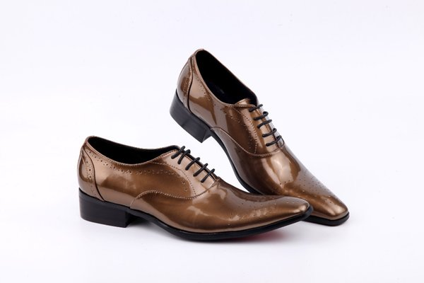 Men's Evening Party Wedding Shoes 2019 Autumn Mens Handmade brown Patent leather Man Shoes Lace Up Oxford Men Dress Shoes
