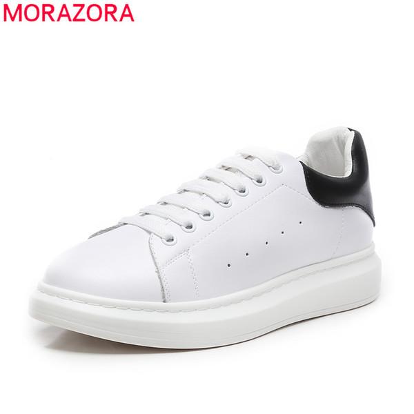 MORAZORA 2019 scarpe bianche sneakers donna scarpe in vera pelle lace up classic flat donna donna casual taglia large 46
