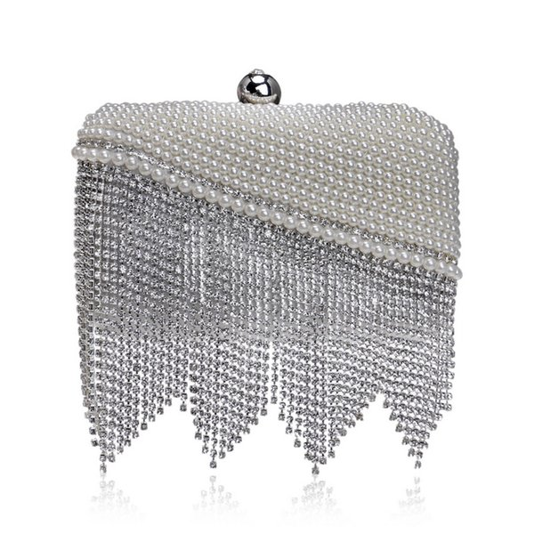 Elegant Ladies Evening Clutch Bag with Chain Diamond Tassel Pearl Shoulder Bag Women's Handbags Purse Wallets for Wedding Party