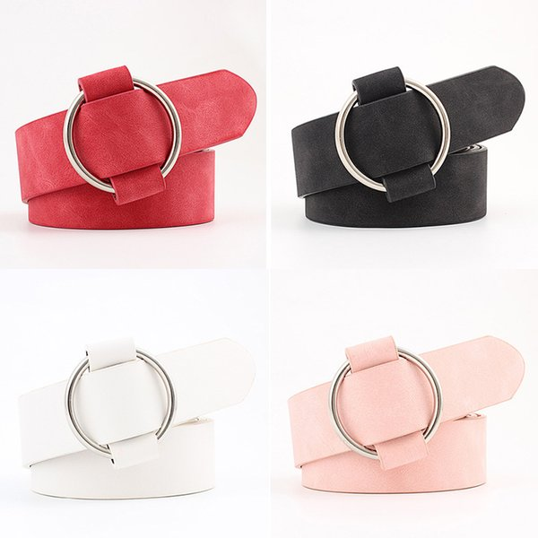 female casual round buckle wide Belts for women dress jeans belt woman ladies faux Suede leather straps ceinture black pink red C19010301