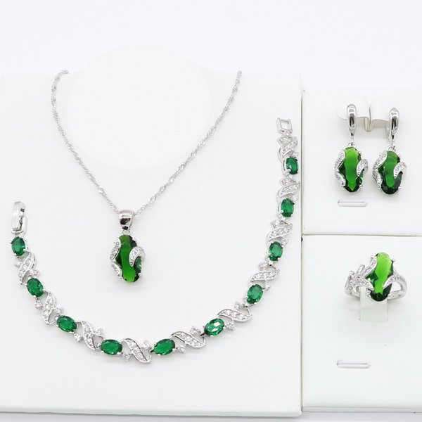 Green Crystal 925 Sterling Silver Jewelry Sets for Women Bracelet Necklace Pendant Ring Earrings Bridal Birthday Gift 2019 New