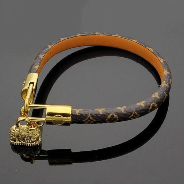 vendita calda Braccialetti di design di marca Braccialetti di cuoio genuini rotondi di modo con il sacchetto dell'oro per le donne e gli uomini Braccialetti del braccialetto della stampa del fiore sky77a