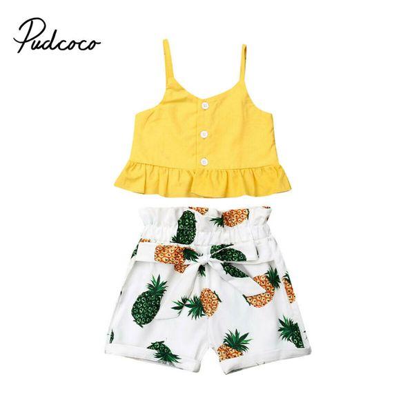 Été bébé layette 2019 Marque Nouveau Beaux-Strap Pineapple Bow-noeud de ceinture Vêtements Ensembles Hauts Filles + Shorts 6M-5Y
