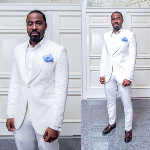 Beyaz Özel Tasarım Erkekler Düğün Smokin Mükemmel Damat smokin Erkekler İş Yemeği Prom Blazer 2 Adet Suit (Ceket + Pantolon + Kravat)