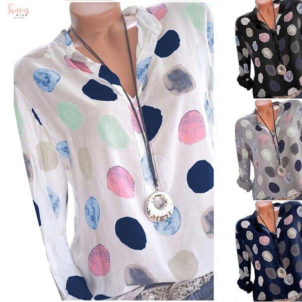 Größe Tops Frauen Büro Plus und Blusen Punkt gedruckt Langarm-Dame-Frühlings-Sommer-reizvoller V-Ausschnitt lose Bluse Blusas