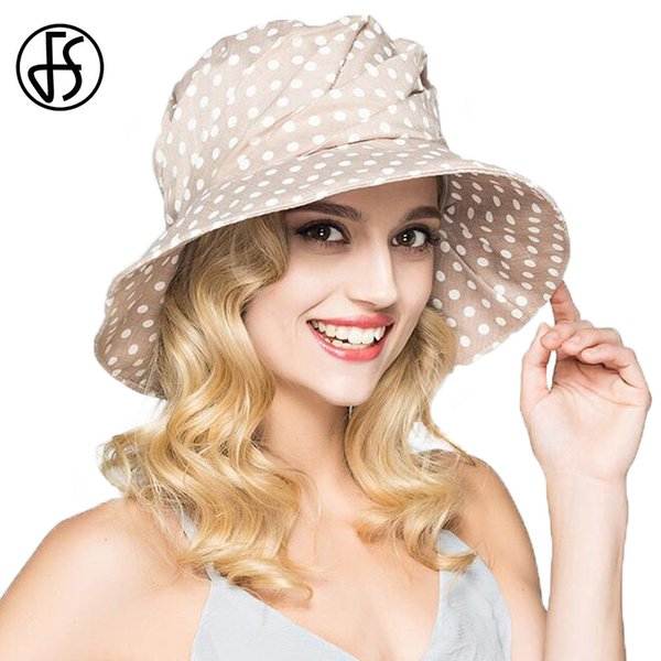 Fs Fashion Summer Wide Brim Cotton Bucket Hat For Women Polka Dot Foldable Sun Hats Casual Lady Floppy Uv Beach Visors Cap Y19052004
