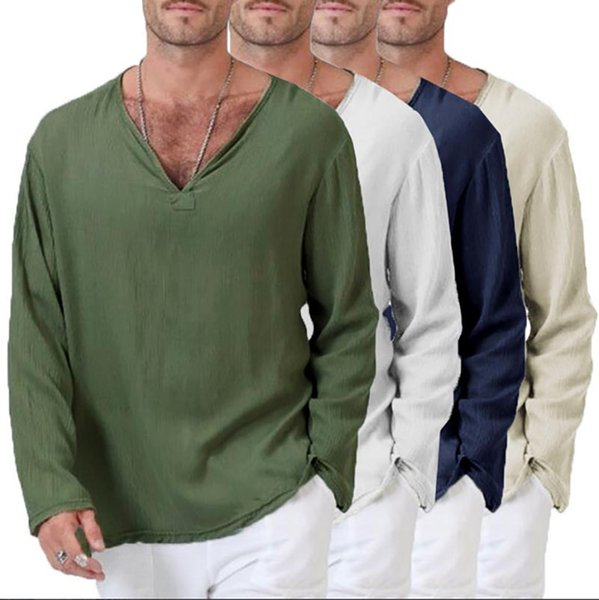 Men T-shirt Ethnic Style Fashion Casual Pure Color Loose Breathable Quick Dry V-Neck Long Sleeve Linen Size S-3XL