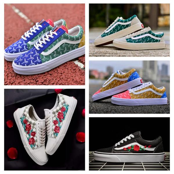 2019 VANS X AMAC Customs Women Men Skateboarding Shoes Rose Embroidery  Sports Old Skool Skate Womens Canvas zapatillas de deporte Sneakers 7d94c6850