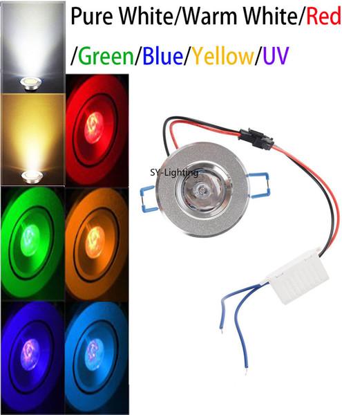 1W светодиодный потолочный светильник встраиваемый в корпус лампы DownLight лампа красный зеленый синий желтый белый теплый белый УФ, (пакет из 10)