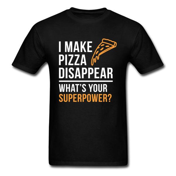 ¿Cuál es tu superpotencia? Camiseta de los hombres camiseta divertida amante de la pizza camisetas letra impresa ropa estudiantes tops algodón personalizado